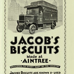 Mon, 2020-03-30 14:50 - The long established name in biscuits of Jacob's, founded in Dublin but closely associated with Liverpool for many years seen here in a 1928 advert. The Liverpool registered van is seen against the backdrop of the cit'ys major buildings.  As the advert notes the company's products were 'known and used all over the world' so it was more than useful to be based in one of the greatest ports. Jacob's were also part of the vanguard of late 19th century businesses that developed a national and international brand. They had a strong 'house style' in publicity at the time and this use of typefaces and decorative borders was in keeping with that.