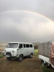 Rainbow over the Russian van