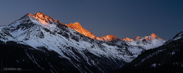 Last sun ligth on the Val d'Anniviers (Switzerland)