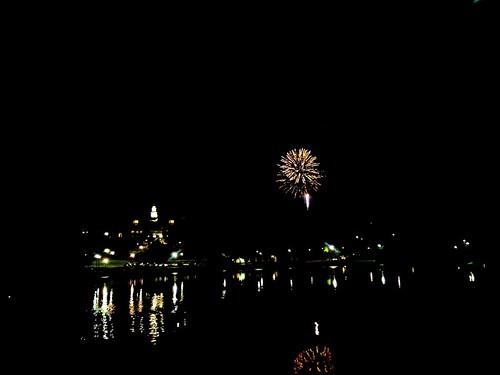 Fireworks over Taylor Lake at Colgate University