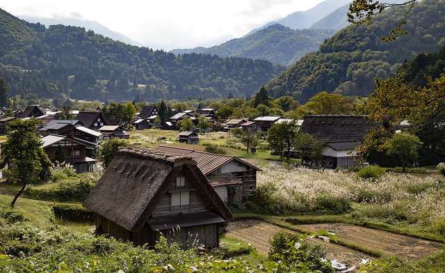 Partial overview of the village Shirakawa-go