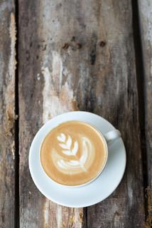 Creative espresso coffee from above.