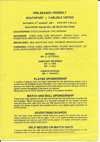 Southport V Carlisle United 4-8-2001 | by cumbriangroundhopper