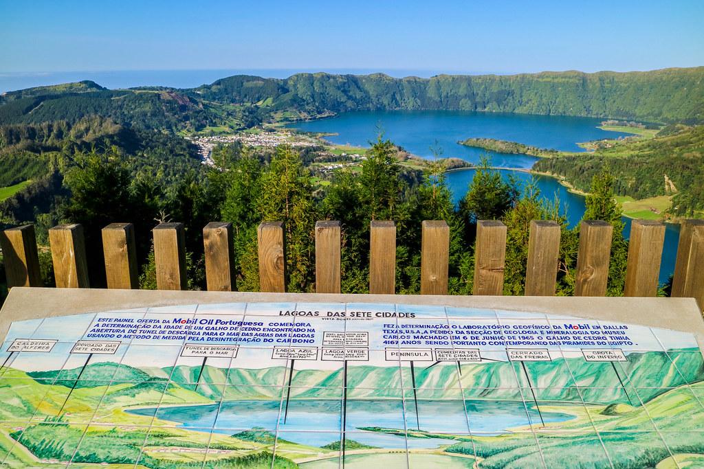 Panel informativo de los lagos del volcán Sete Cidades desde el mirador Vista do Rei