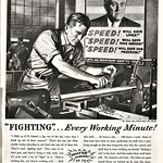 Mon, 2020-03-30 10:39 - As General Motors sets aside automobile production to ramp up production of ventilators in the COVID-19 pandemic, a look back at this ad from the now-defunct Oldsmobile Division from World War II, the last time automobile production was set aside, depicting a worker making weapons at a GM factory for the war effort, while a poster featuring President Franklin Delano Roosevelt inspires speed. (The ad copy would be rather un-PC today.)  From Look magazine, June 30, 1942.