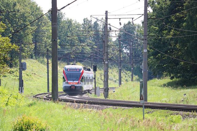 Электропоезд ЭПг-002 на перегоне Городище/Колодищи.