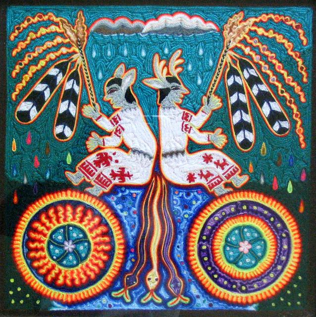 Huichol Ceremony Yarn Painting Mexico
