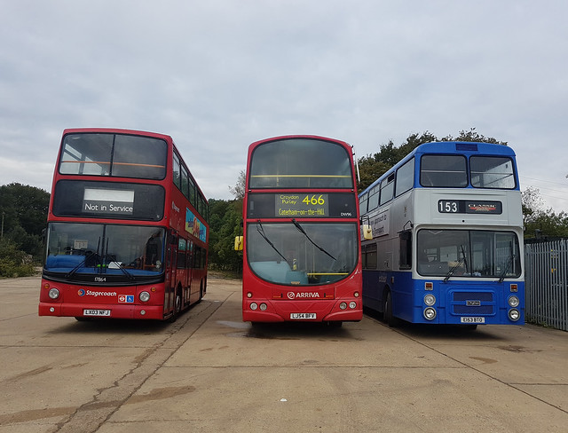 Stagecoach London 17864, LX03NFJ , Arriva London DW96, LJ54BFV & Derby Transport 153, E153BTO | Bromley Bus Preservation Group