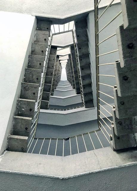 infinite stairs in an old building Prishtina - Kosovo