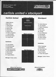 Carlisle United V Stockport County 2-8-2003 Team Sheet | by cumbriangroundhopper
