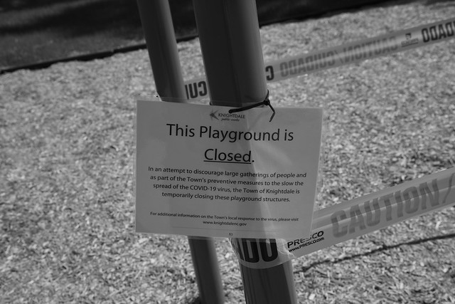 Covid 19 Virus closes playgrounds aroud North Carolina.