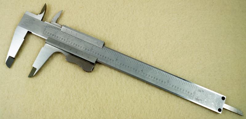 RD20908 Vintage Helios Stainless 6 inch Vernier Caliper Germany Inside Outside Depth DSC01909