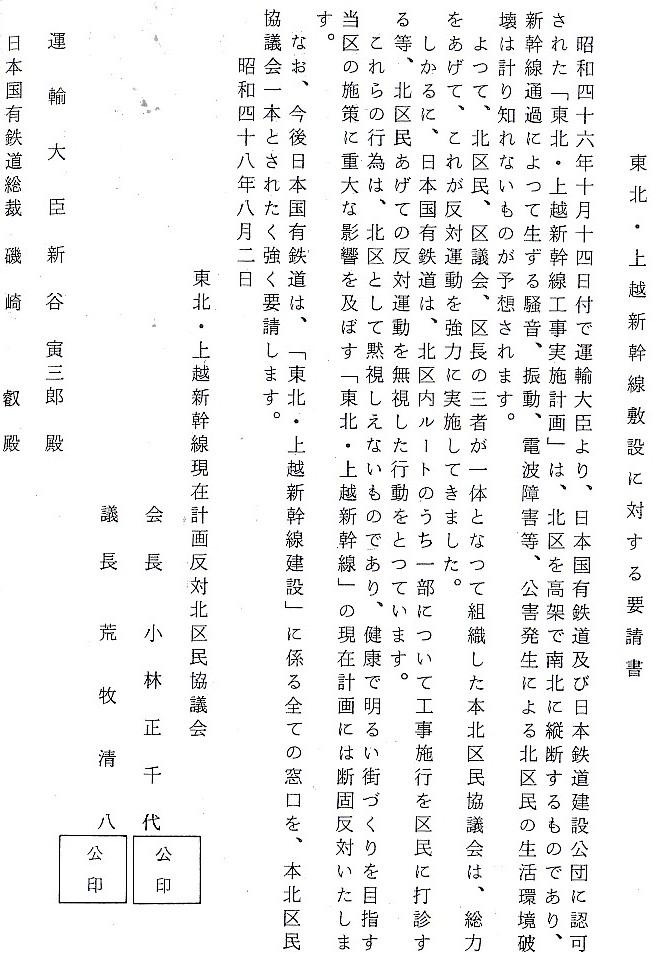 東京都北区による東北新幹線反対運動