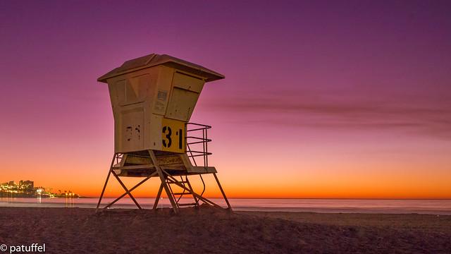 Lifeguard Tower during sunset at La Jolla Beach