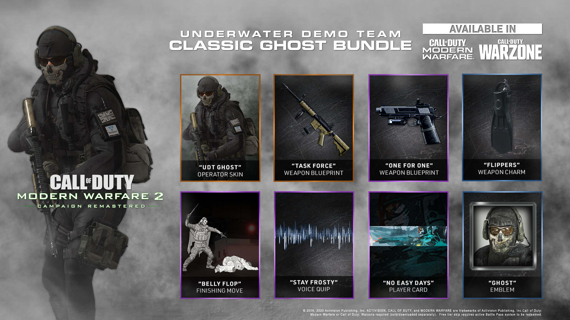 Call of Duty: Modern Warfare 2 Campaign Remastered - Underwater Demo Team Classic Ghost Bundle for Modern Warfare on PS4