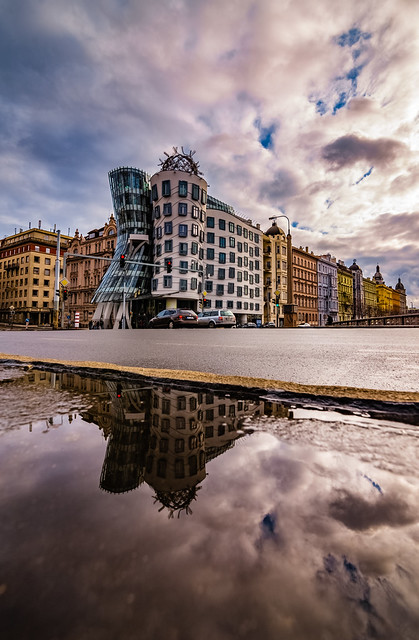 The Dancing House after the rain