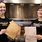 Jada and Hayley at Burger Fuel Cashel St love that the hard work they put into their burgers, are not spoilt by plastic bags.  Paper only here! #nzbagban