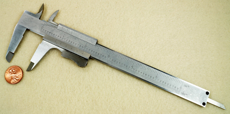 RD20908 Vintage Helios Stainless 6 inch Vernier Caliper Germany Inside Outside Depth DSC01908