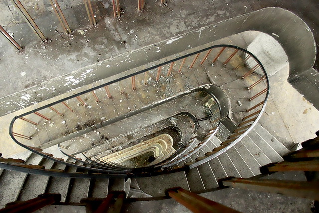 Staircase of the old and abandoned sanatorium