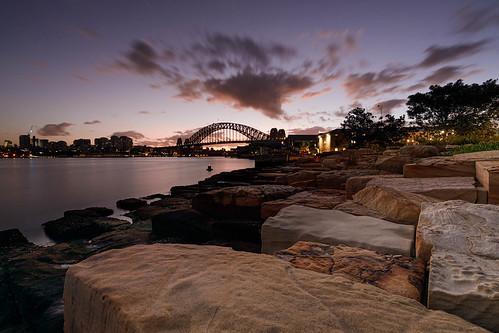 barangaroo sydney harbour water sandstone rocks foreshore sunrise dawn nsw new south wales australia bridge