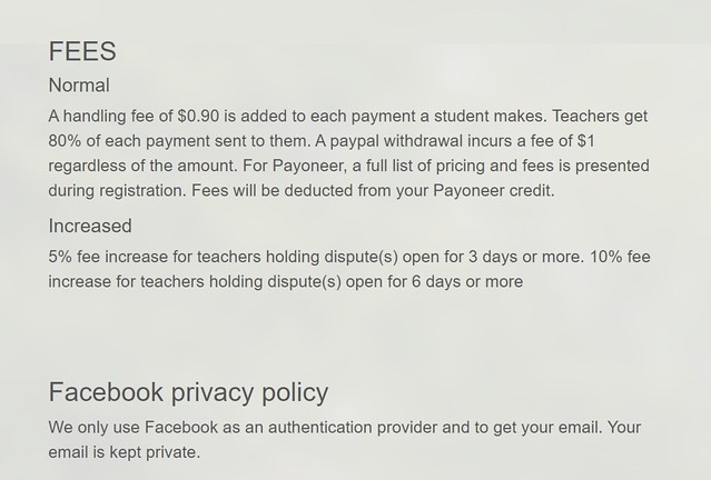 Fees and Facebook privacy policy