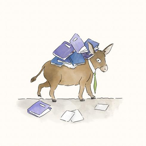 vector-donkey-carrying-a-load-of-books