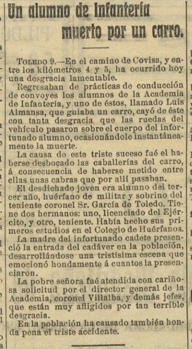 Noticia de la muerte del cadete Luis Almansa. La Mañana 10 de abril de 1910