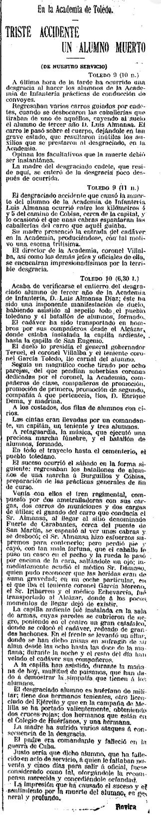 Noticia de la muerte del cadete Luis Almansa. La Correspondencia Militar 11 de abril 1910