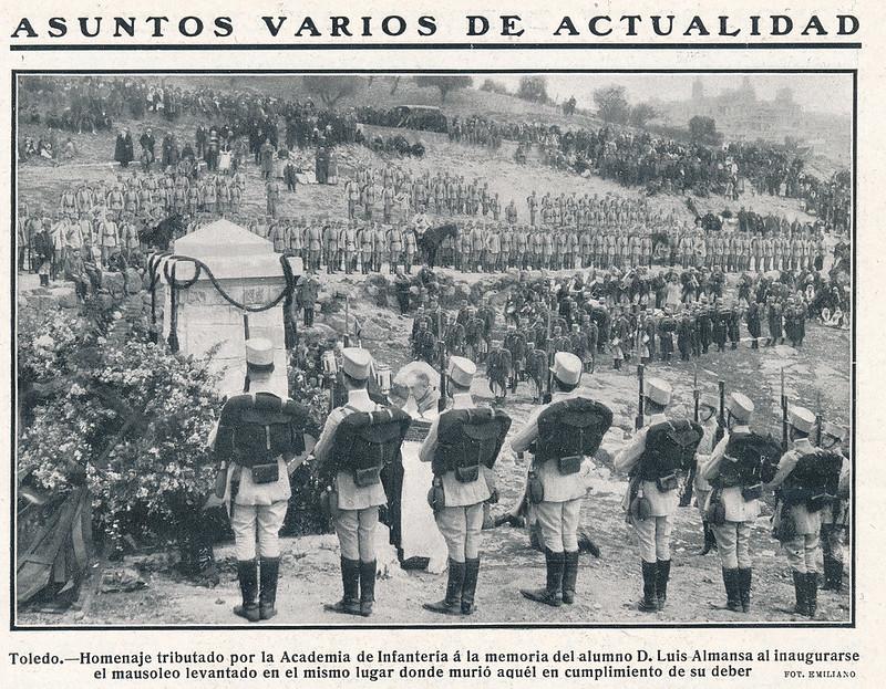 Revista Nuevo Mundo, inauguración del mausoleo en homenaje al cadete Luis Almansa. 9 de abril de 1911, foto de Emiliano.