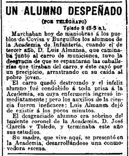 Noticia de la muerte del cadete Luis Almansa. El Liberal 10 de abril de 1910