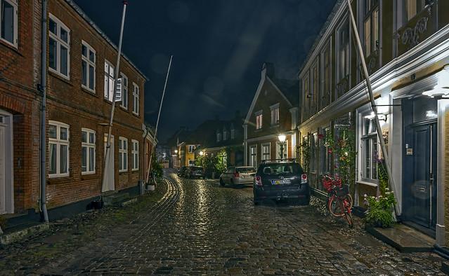 Ribe a rainy night in September