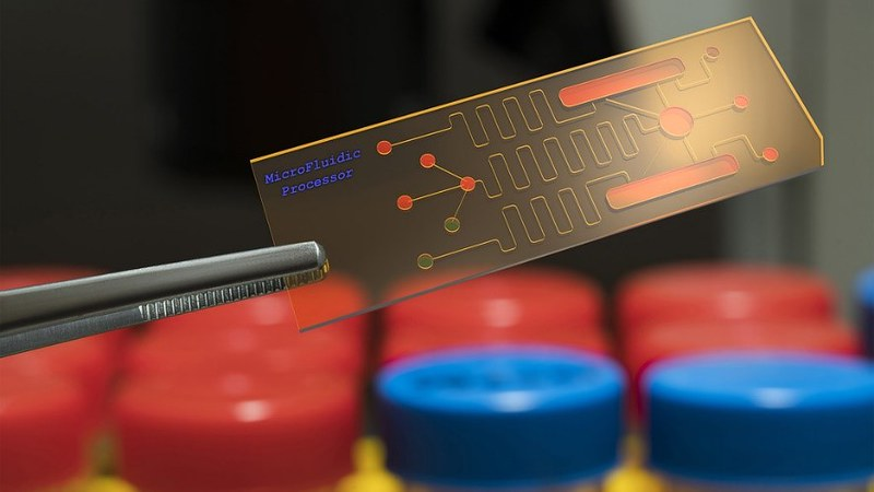 Microfluidic processor being held by tweezers