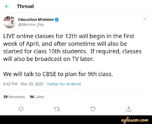 Live Online Classes for 10th and 12th Students Starts in April, Says Manish Sisodia