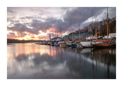 penryn quay river cornwall sunrise dawn water boats yachts clouds sky reflection outdoors landscape dreamy march home glow hdr boatshed england uk gb red stayhome staysafe