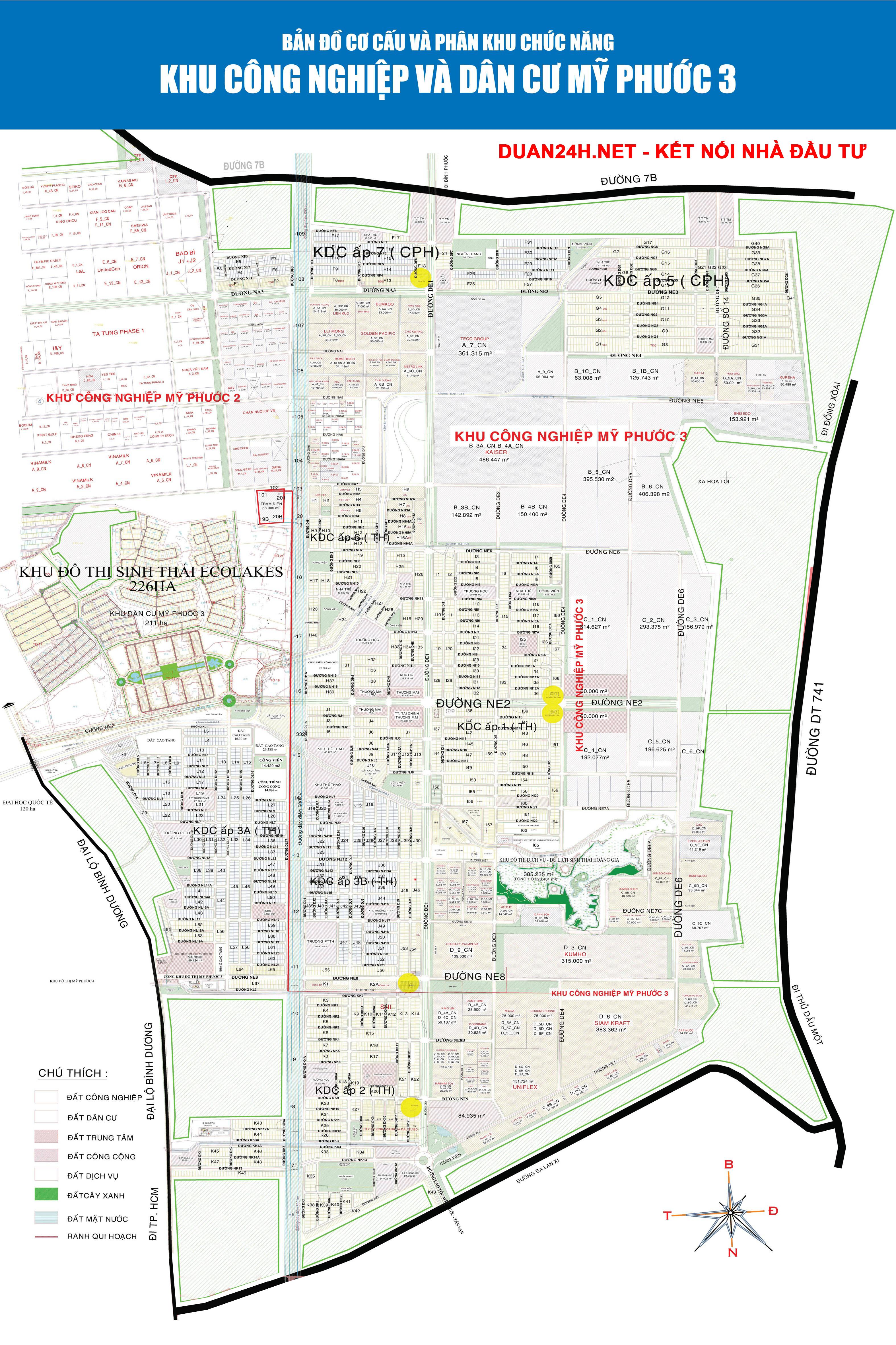 Bản đồ Khu công nghiệp đô thị Mỹ Phước 3