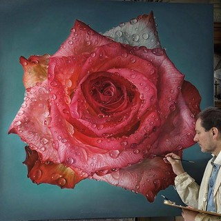 Hyper Realistic Oil Painting Pink Rose