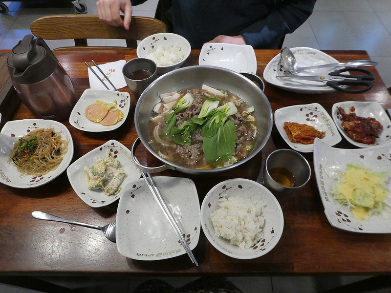 A typical Korean meal with side dishes and kimchi