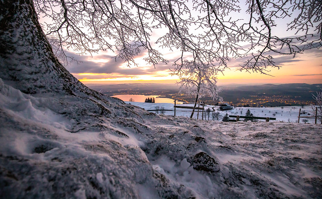 Sunset after snowfall