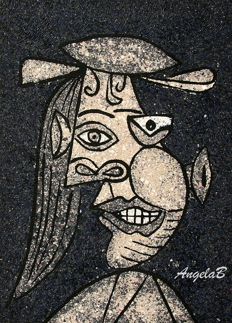 Picasso, polymer clay painting, 179