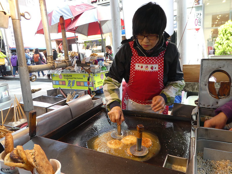 Watching our Hotteok pancakes being prepared in Nampo, Busan