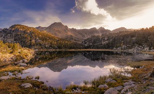 landscape nature naturescape lake circus mountains clouds cloudscape warm sunset dawn water reflection reflex andorra ngc