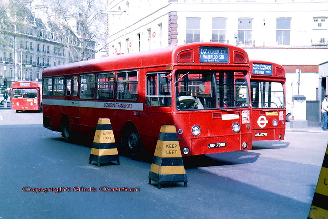 AEC Swifts SMS708 with MBA577 & MBA545 at Victoria station 24th April 1981 with less than 1 month left in service
