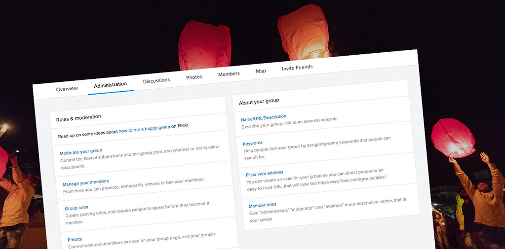 Flickr Groups Admin Page