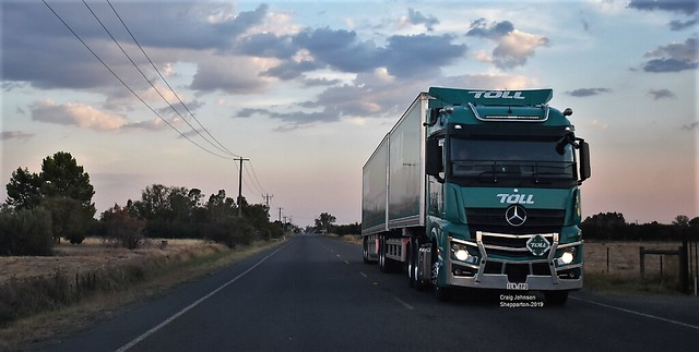 Toll Mercedes-Benz on approach to Shepparton in Sunset