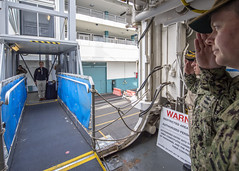 LOS ANGELES (March 31, 2020) Acting Secretary of the Navy Thomas B. Modly arrives to the Military Sealift Command hospital ship USNS Mercy (T-AH 19) March 31. Modly spoke with leadership and addressed the crew from across the brow during his visit. Mercy deployed in support of the nation's COVID-19 response efforts, and will serve as a referral hospital for non-COVID-19 patients currently admitted to shore-based hospitals. This allows shore base hospitals to focus their efforts on COVID-19 cases. One of the Department of Defense's missions is Defense Support of Civil Authorities. DoD is supporting the Federal Emergency Management Agency, the lead federal agency, as well as state, local and public health authorities in helping protect the health and safety of the American people. (U.S. Navy photo by Mass Communication Specialist 2nd Class Ryan M. Breeden)