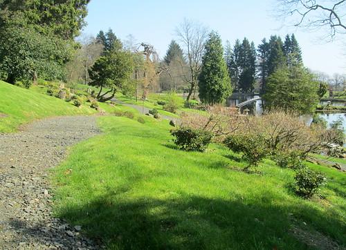 Path and Bridge over Lake, Cowden Garden