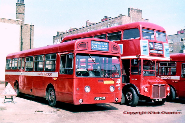 1971 AEC Swift SMS715 JGF715K with Routemaster RM506 (now preserved) at Waterloo bus station 24th April 1981