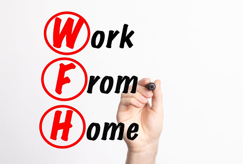 WFH - Work From Home acronym with marker, concept background | by focusonmore.com
