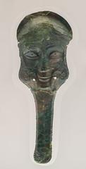 Pair of bronze prometopedion from Ruvo di Puglia