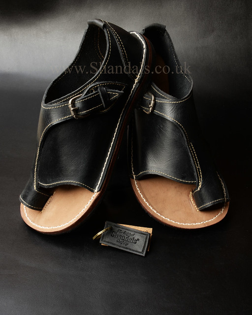 £175. Black leather Buckle Shandals by www.Shandals.co.uk